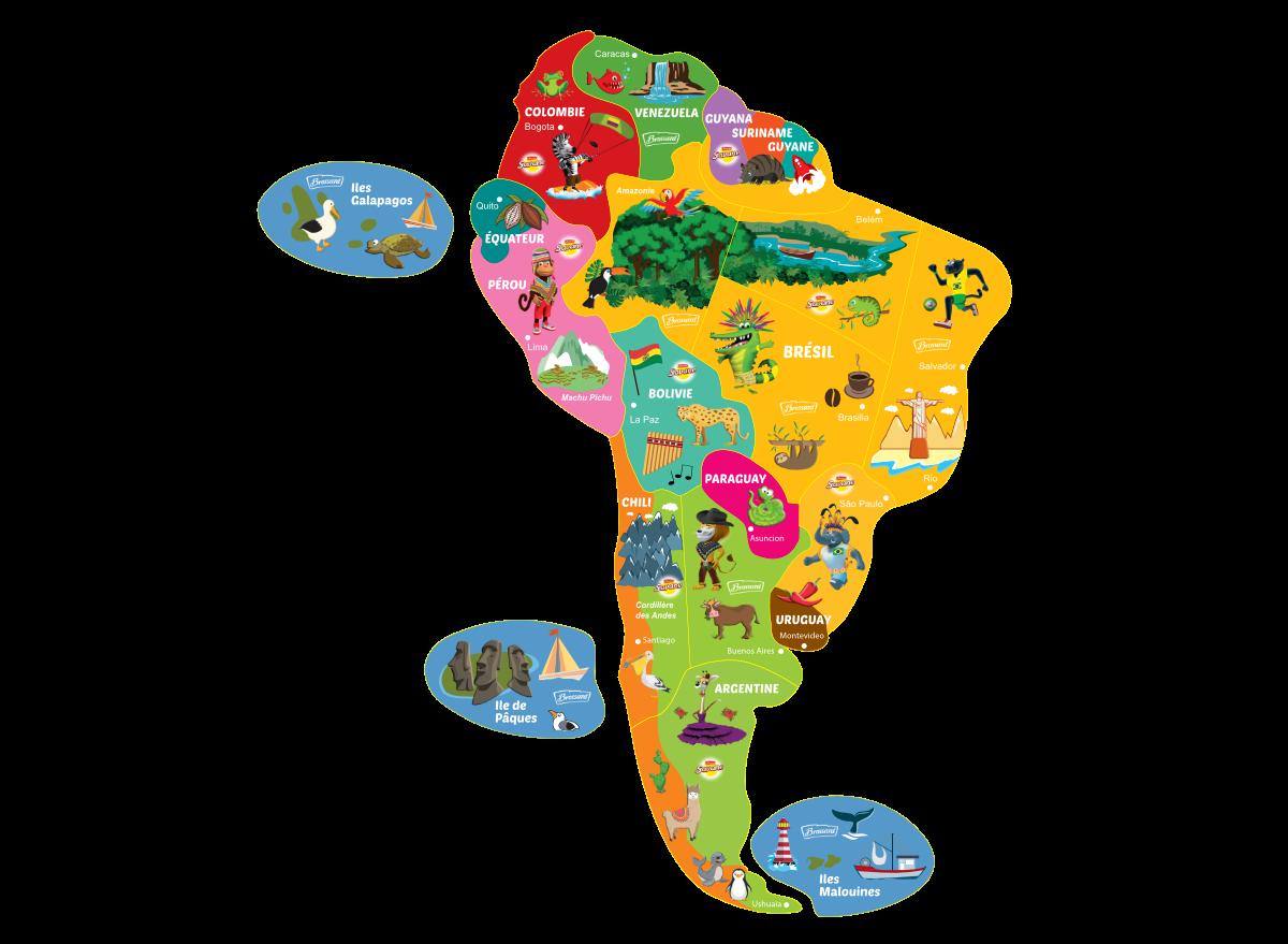 Carte des magnets Brossard Amérique du Sud