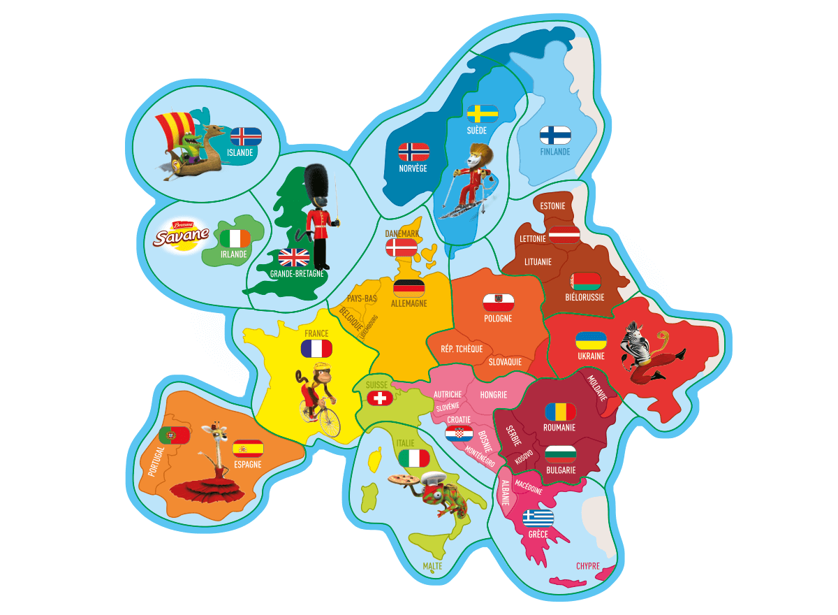 Carte des magnets Brossard Europe